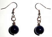 Blue Jade Gemstone Crystal Sphere Earrings