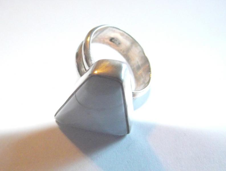 Blue Lace Agate Sterling Gemstone Ring - Size P