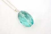 Huge Blue Obisidian Facetted Pendant with chain