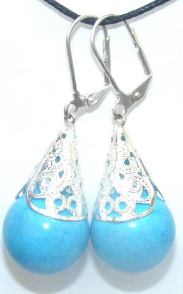 Ornate Blue Shell Pearl Earrings