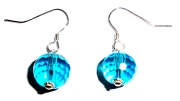 Blue Facetted Crystal Sterling Silver Earrings