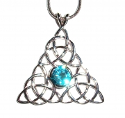 Blue Topaz Triquetra Inspired Pendant with Chain
