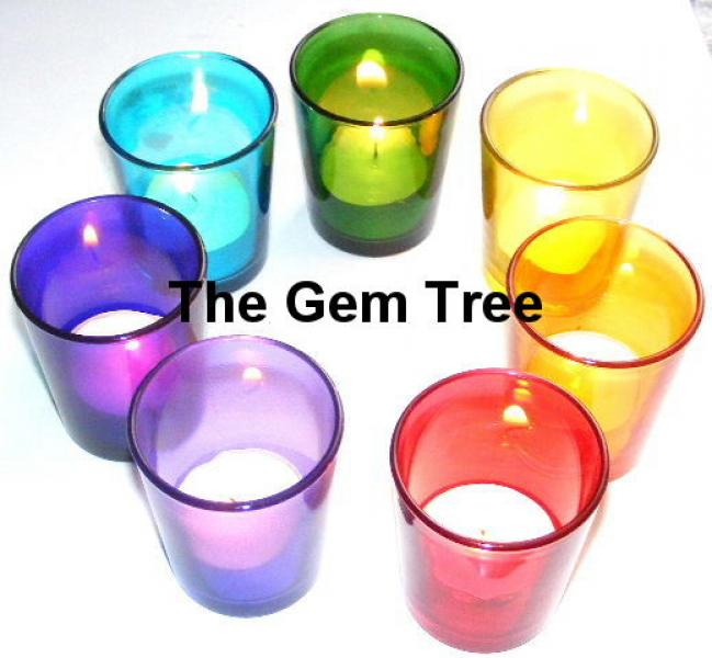 Set Of 7 Chakra Glass Tea Light Votive Candle Holders