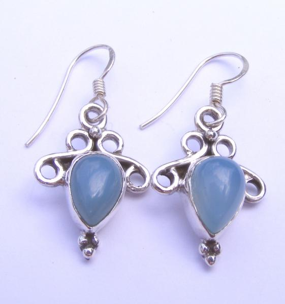 Blue Chalcedonny Scroll Cabachon Eearrings