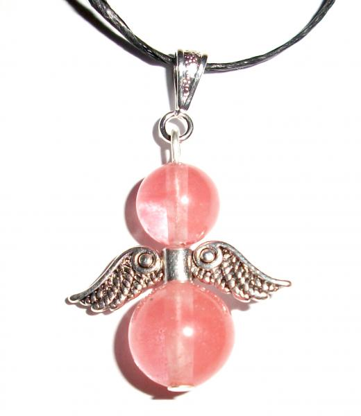 Cherry Quartz Angel Wings of Light Gemstone Pendant