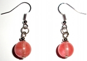 Cherry Quartz Gemstone Crystal Sphere Earrings