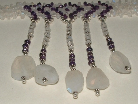 Rainbow Moonstone and Amethyst Choker Necklace - Sterling Silver