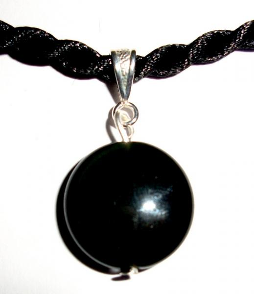 Rainbow Obsidian Disc Pendant with Cord