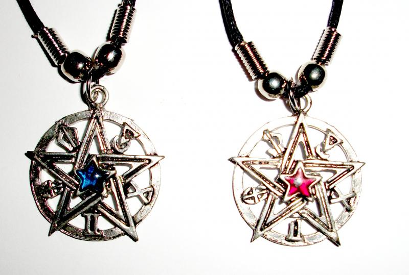 Pentacle and symbols pendant with cord