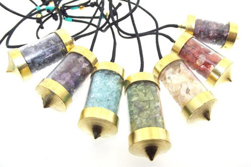 Full Set of 7 Chakra Gemstone Crystal Capsule Dowsers