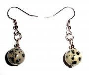 Dalmation Jasper Gemstone Crystal Sphere Earrings