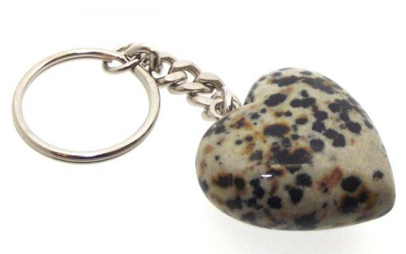 Dalmation Jasper Heart Gemstone Crystal Keyring