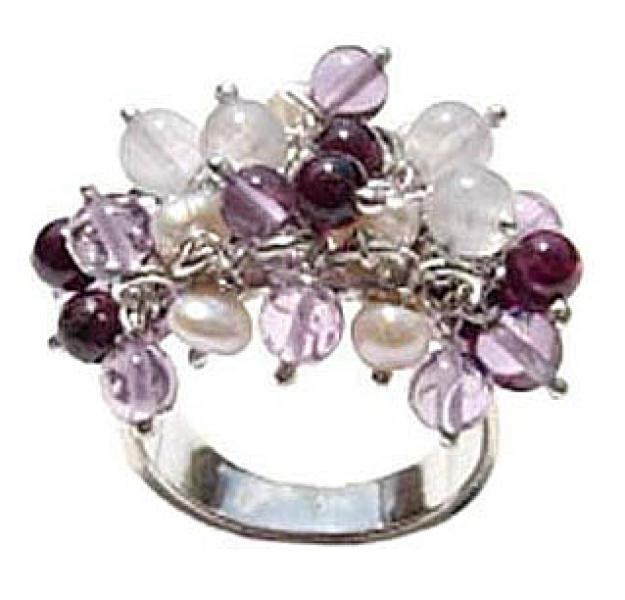 Dangly Gems Gemstone Ring .925 Sterling Silver Ring - R