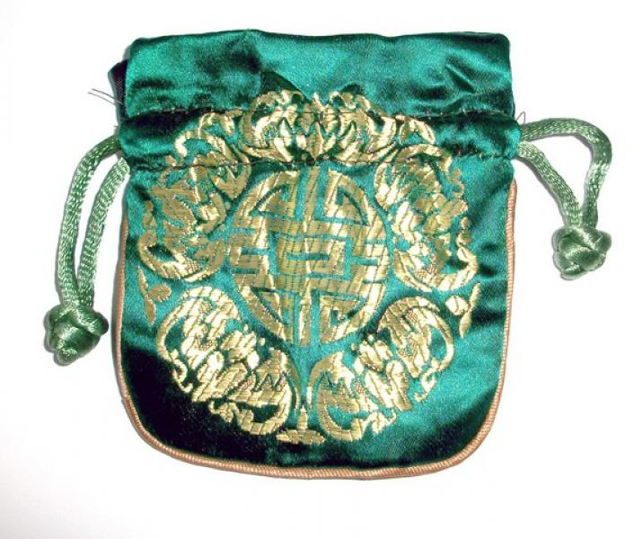 Gold Embossed Dark Green Chinese Silk Brocade Pouch