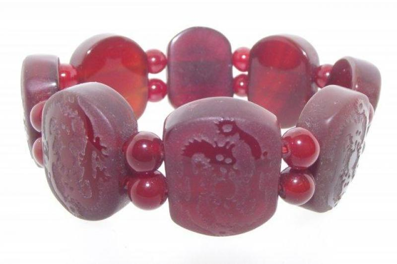 Dragon Etched Carnelian Gemstone / Crystal Bracelet