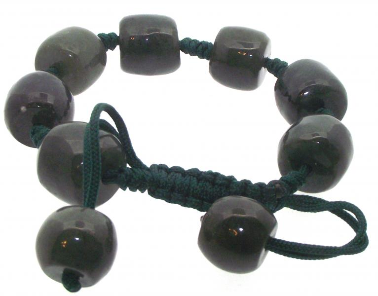 Dark Green Jade Drawstring Gemstone Bracelet