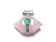 Double Terminated Rose Quartz with Green Agate