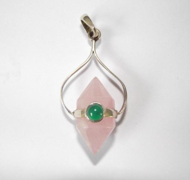 Double Terminated Rose Quartz Sterling Silver Pendant