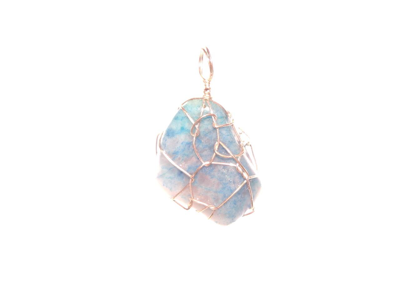Dumortierite Gemstone Wire Wrapped Pendant
