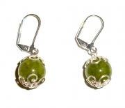Olive Green Leverback Earrings