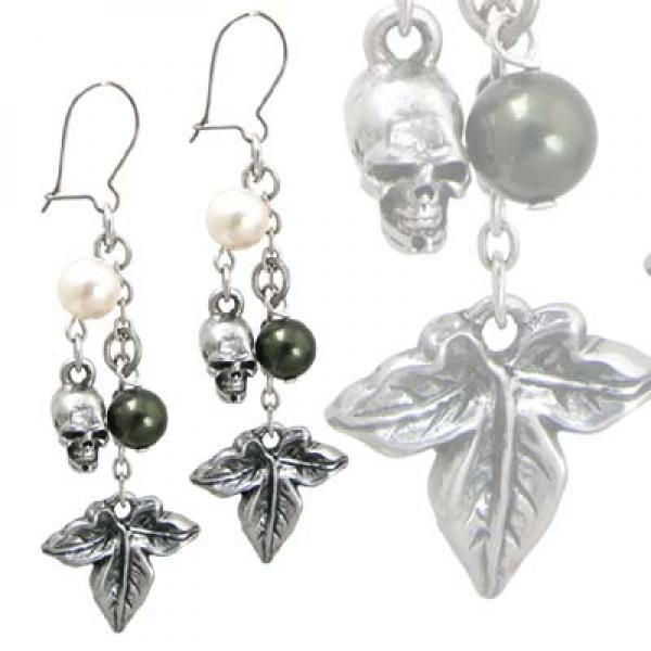 Poison Ivy Alchemy Gothic Pewter Earrings