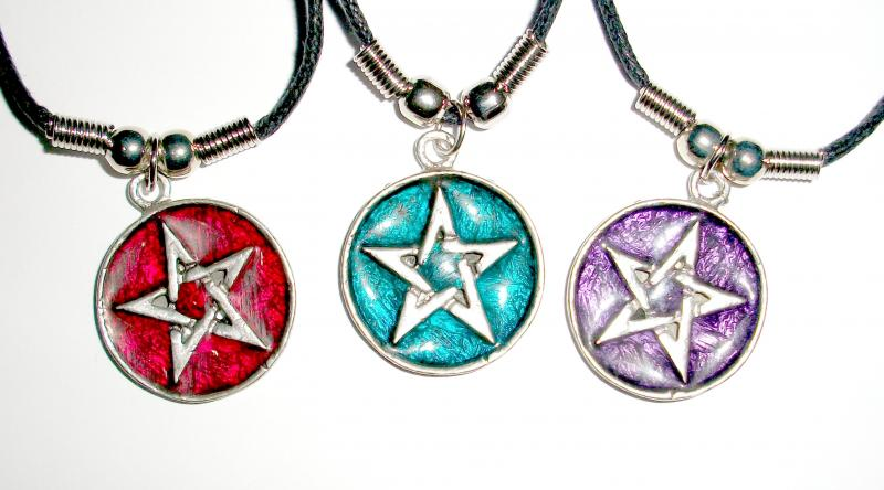 Enamel Pentacle Pendant with necklace cord