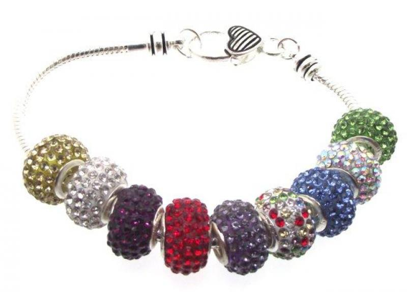 European Charm and Swarovski Bead Bracelet