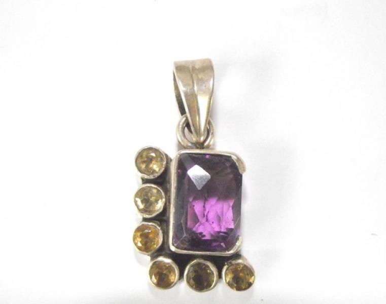 Facetted Amethyst And Citrine Sterling Silver Pendant