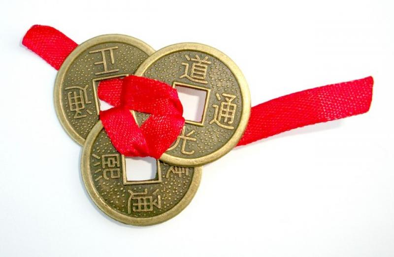 Feng Shui Three Coins with Ribbon