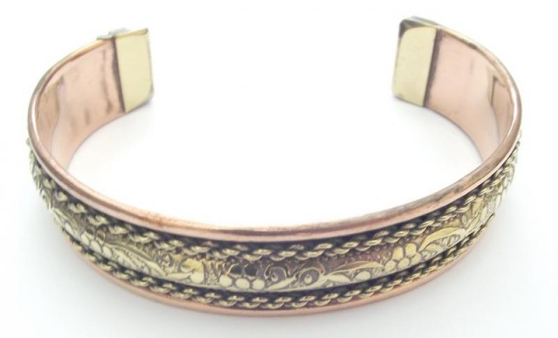 Floral Copper And Brass Cuff Bracelet