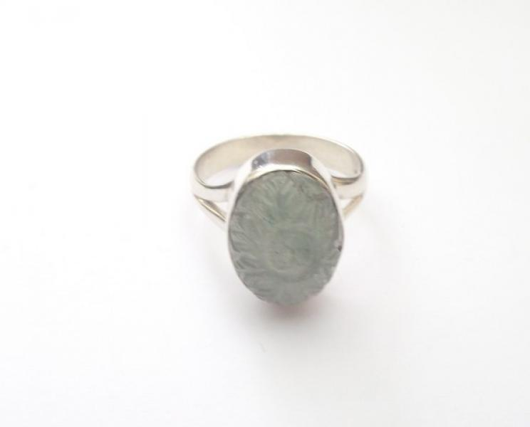 Green Aventurine Carved Gemstone Sterling Silver Ring R