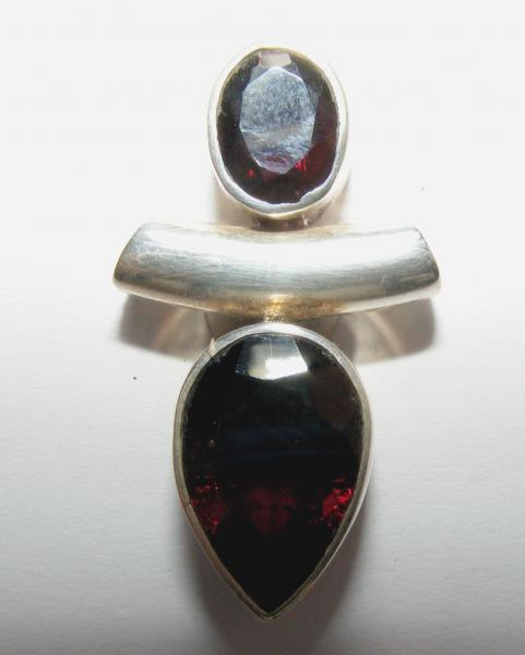 Garnet Double Facetted Sterling Silver