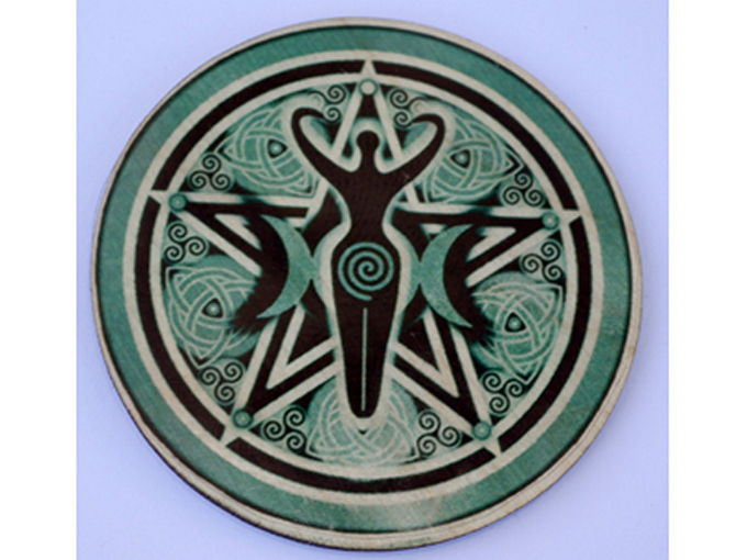 Goddess Triple Moon Pentacle Altar Tile - 5cm