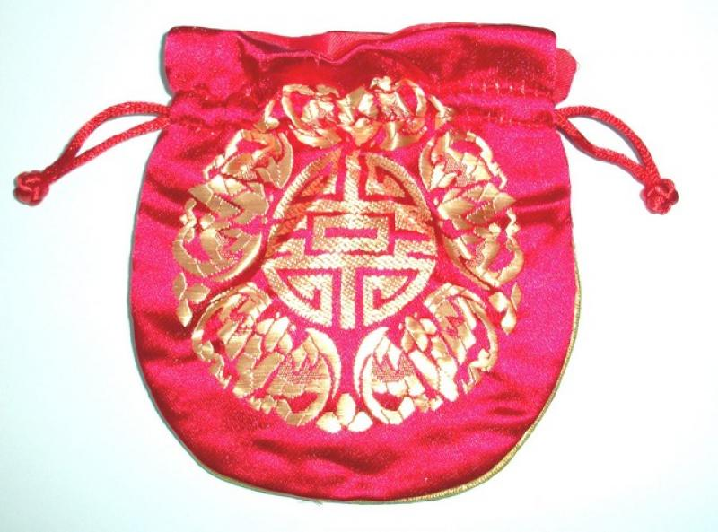 Gold Embossed Red Chinese Silk Brocade Pouch