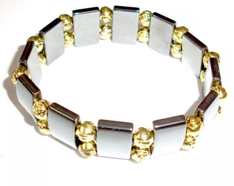 Hematite Gemstone Stretch Bracelet - Gold Roses