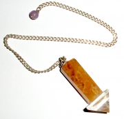 Facetted Golden Topaz and Quartz Pyramid Dowser