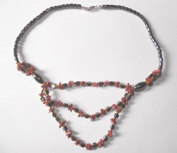 Goldstone And Hematite Gemstone Necklace