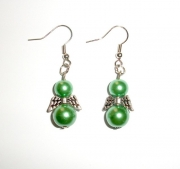 Green Glass Pearl Angel Earrings