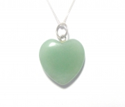 Green Aventurine Gemstone Heart Sterling Silver Pendant with Chain