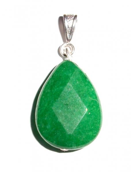 Green Jade Facetted Teardrop Pendant