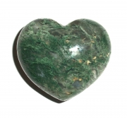 Green Moss Agate Gemstone Heart Carving - Large