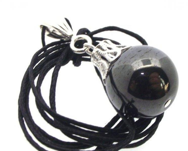 Hematite Gemstone 16mm Sphere Pendant on Black Cord
