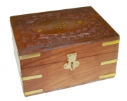 Aromatherapy Wood and Brass Storage Box - Holds 12 bottles
