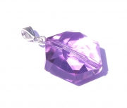 Hyacinth Andara Crystal Hexagon Pendant with Silk Cord