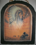 Native American Chief and Bison Slate Hanging Picture