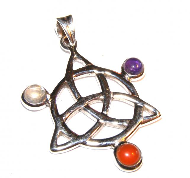 Assorted Gemstone Triquetra Pendant 2