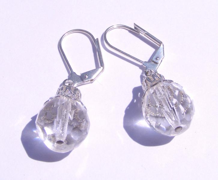 Facetted Glass Earrings - Leverback Earrings