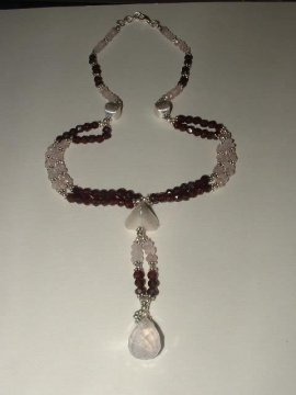 Garnet And Rainbow Moonstone Choker Necklace, Sterling Silver