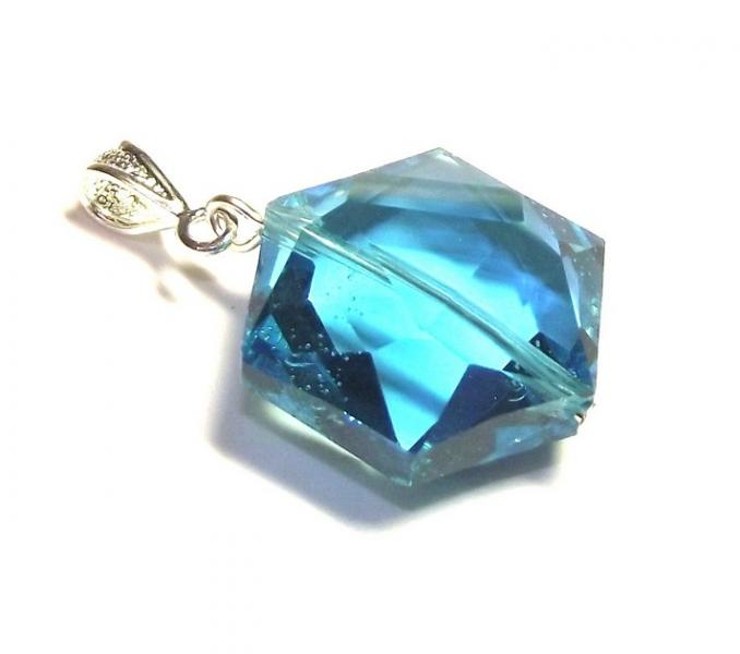 Mini Turquoise Andara Crystal Hexagon Pendant with Silk Cord