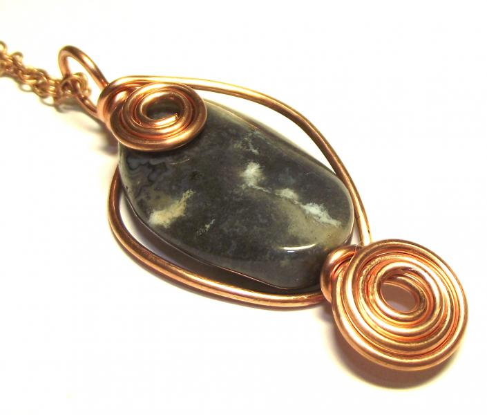Ocean Jasper Wire Worked Gemstone / Crystal Pendant 6